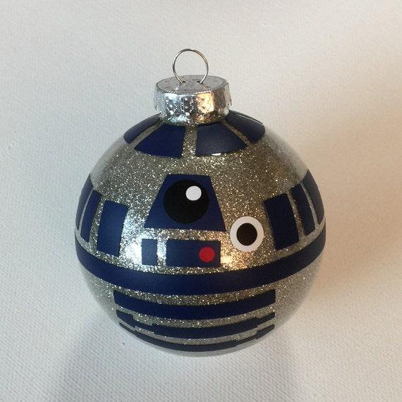 Star wars inspired r d christmas glitter ornament
