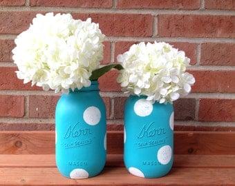 Painted mason jar, Aqua mason jar, baby shower decor, polka dot mason jar