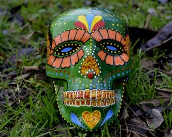 FREE SHIPPING Sugar Skull Day of the Dead HandMade Points Ceramic Skull Mexican Skull Decoration