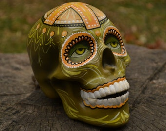 Ceramic Handmade Day of the Dead Mexican Folk Art Cross Religious Sugar Skull MADE TO ORDER