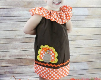 Fall Turkey Dress, Thanksgiving Turkey Dress,Girls Turkey Dress, Applique Embroidered Dress
