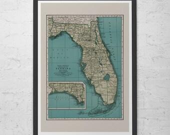 FLORIDA MAP PRINT - Vintage Map of Florida - Old Map Print, Vintage Wall Art, Old Florida Map, Historical Wall Art