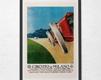 ANTIQUE CAR POSTER - Circvito di Milano Car Ad Print - Grand Prix Car Poster, High Quality Reproduction, Italian Car Wall Art
