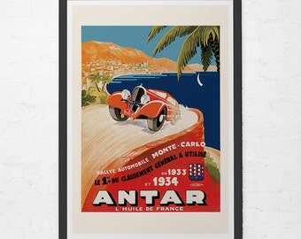 1934 MONTE CARLO POSTER - Antique Car Racing Poster - Vintage Rally Car Art, High Quality Reproduction, Antique Car Poster