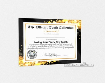 Tooth Fairy Certificate #2 -- Custom Wall Art Decor -- INSTANT DOWNLOAD -- Printable -- You Fill in Name!!