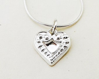 Silver Heart Pendant, Handmade Fine Silver Heart Charm, Sterling Silver Necklace., Girls Silver Gift, Uk Seller.