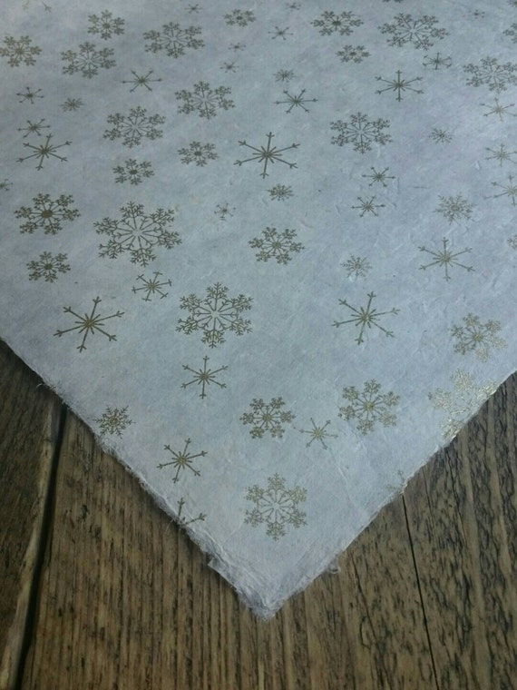 gold snowflake wrapping paper handmade lokta paper 75 x