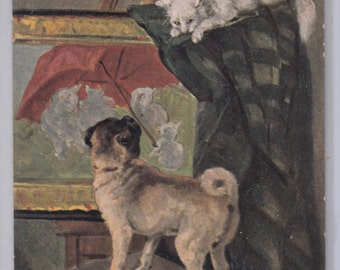C1907 Antique Postcard Pug Dog Chases White Cat On Artist's Easel A/S Clemence Nielssen Unused