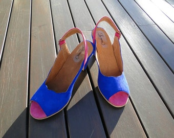 High heel leather handmade shoes / women shoes in blue  leather / Model Amelie