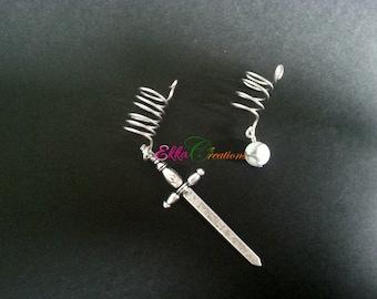 2 Dreadlock Bead/Sword dread bead/Dread Bead/Dreads/ekkacreations/Sword dread beads/sisterlock beads/beard beads