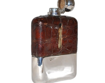 Vintage Silver, Glass & Leather Hip Flask