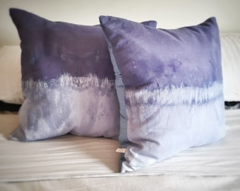 Back In stock. Linen Shibori dip dyed euro cushion
