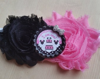 Minnie Mouse 1st Birthday headband.  Pink Black. Shabby chic