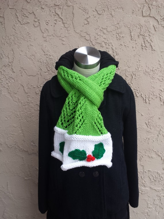 Christmas Knit Scarf Holiday Knit Scarf Knit Scarf Winter