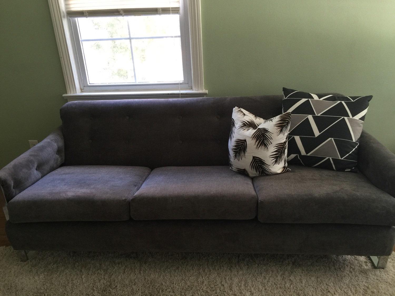 vintage milo baughman style low profile chrome grey sofa