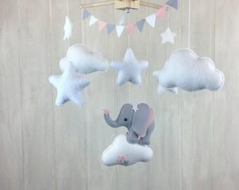 Elephant mobile - baby mobile - cloud mobile - elephant nursery - navy and grey - nursery decor - elephant theme