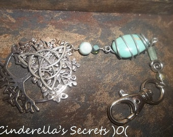 Tree of Life Natural Turquoise Stone Triquetra Key Chain