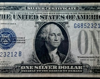 Vintage Nice Circulated 1928 B Funny Back silver certificate One Dollar Bill blue seal note united states banknote currency 1.00 Ship