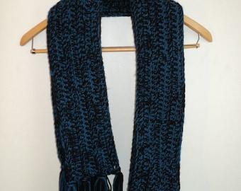 Super Long, Blue and Black, Fringe Scarf