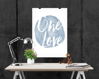 """watercolour art print, """"One Love"""" quote, Giclee Art Print, inspirational quote, archival art print"""