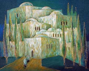 Oil on Canvas Original Signed Painting by Marina Grigoryan Jerusalem Unique Art