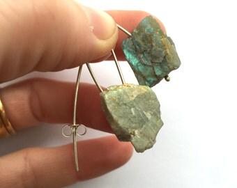 Handmade Rough Labradorite and Silver V Earrings