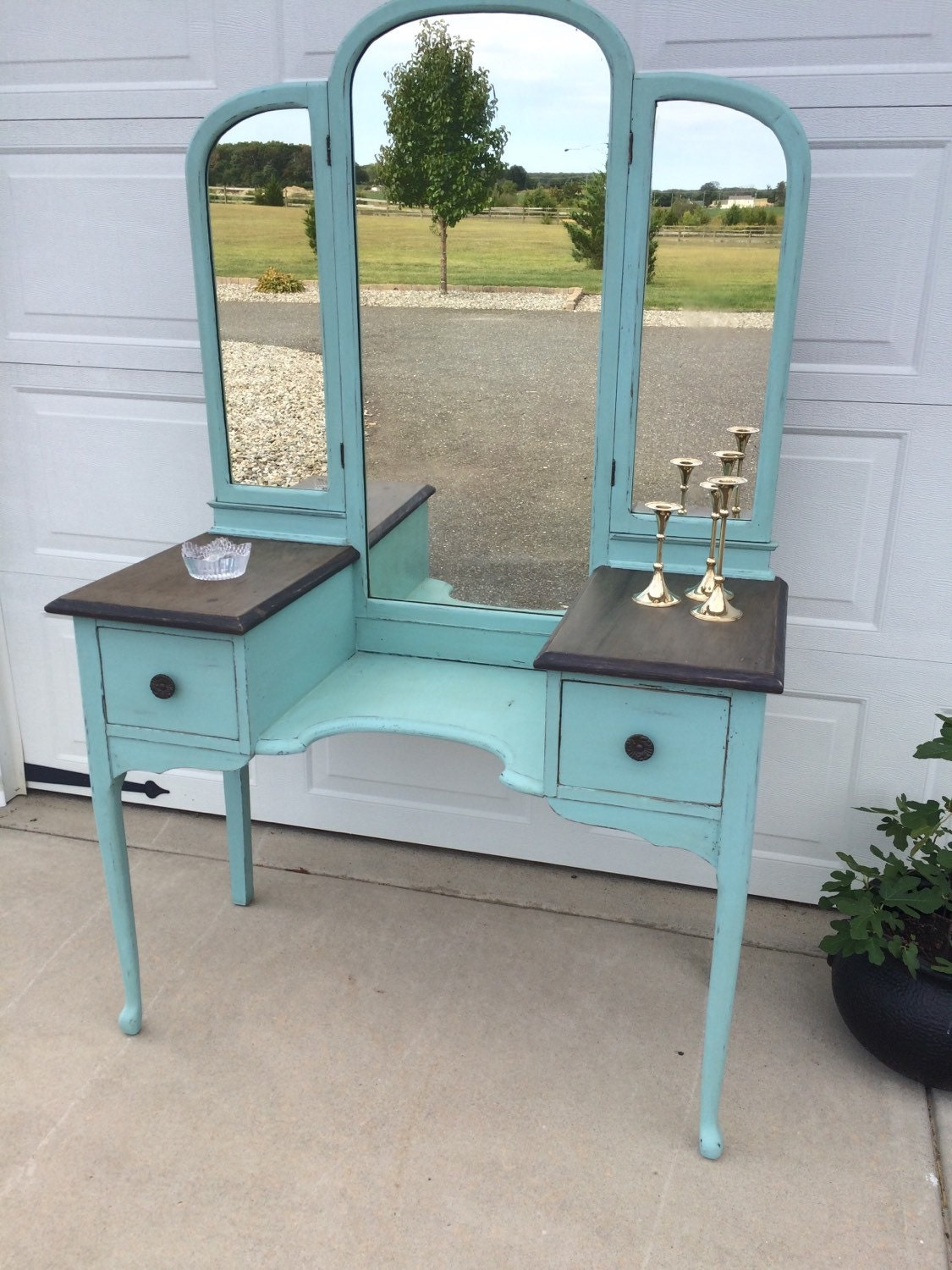 beautiful antique makeup vanity foyer or entryway table