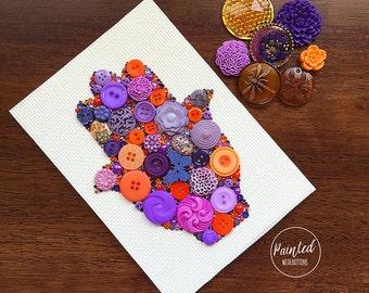 Button Art - Hamsa - Vintage Button Artwork, Wall Hanging, Wall Art, Home Decor, Hamsa Art, Button Mosaic, Hamsa Symbol, Hamsa Wall Decor