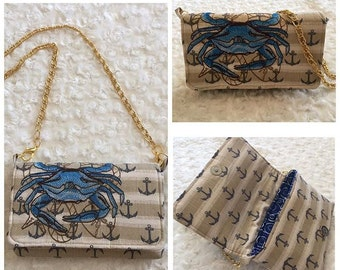 Nautical Crab Clutch Purse