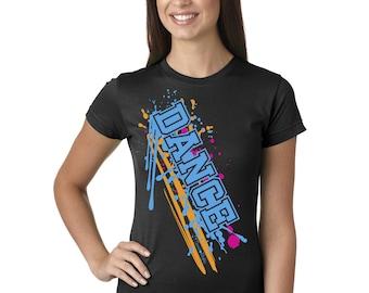Dance Paint Splash Juniors Longer Length T-Shirt Black, Grey, and White Sport Tee Shirt