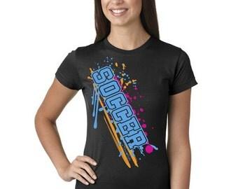 Soccer Paint Splash Juniors Longer Length T-Shirt Black, Grey, and White Sport Tee Shirt