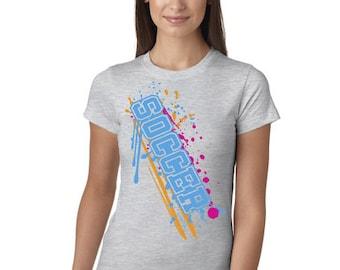 Soccer Paint Splash Grey Juniors Longer Length T-Shirt