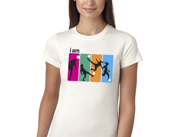 I Am Soccer Juniors Longer Length T-Shirt White and Grey Soccer Tee Shirt Top