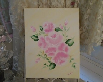 Original Acrylic Painting of Pink Roses on Canvas Hand Painted by Veronica Shabby Chic Decor