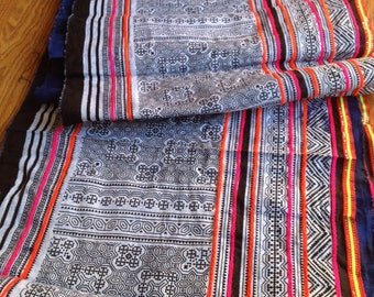 2.5 Yards Thai Hmong Hilltribe Ethnic Fabric 078 / Homespun Cotton Textile