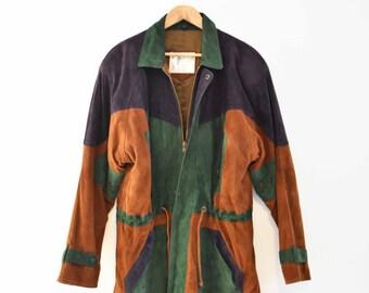 Colour Block Handmade Leather Jacket