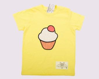 Kids Tshirt, Cupcake Tshirt in yellow, Applique, Cotton, Gift for kids, Cutiepie, kids size 4