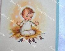 Vintage Christmas Card  - Baby and Birds - Unused Rust Craft Marjorie Cooper