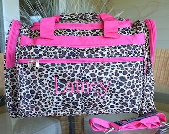 Leopard Duffle, Travel Bag, Monogrammed
