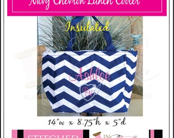 Lunch tote, Navy Chevron, Insulated, Monogammed