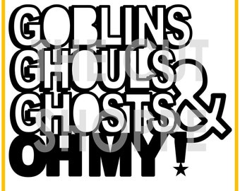 The Goblins Ghouls Ghosts cut file is a Halloween phrase, that can be used for your scrapbooking and papercrafting projects.