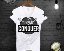 The Legend CONQUER White Men's t-shirt Arnold Schwarzenegger inspired luxury muhammad ali gym motivation muscle rocky scarface RBDesign D681
