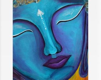 Buddha print - Blue Buddha art - Buddha wall art - Buddha home decor  - Buddha face - Spiritual art  - Meditation wall art - Zen - Feng shui