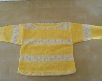 18-24mth (1.5-2yrs) toddler/girls self patterned button up jumper/top in golden yellow/cream stripes with flecks of pale green and pink