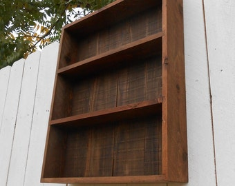 Open Faced Pallet Wall Cabinet - Early American Dark Stain