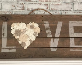 """Large Love Wood Pallet Sign with Fabric Roses Rosettes 40""""x15"""""""
