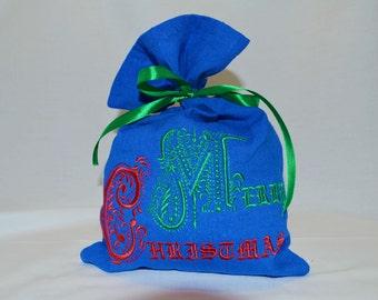 Christmas Gift Bag Christmas Gift Sack Embroidered Gift Bags Merry christmas Xmas gift Santa Personalised christmas stocking Linen Gift Bag