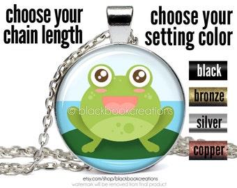 Cute Frog Necklace, Kawaii Frog Pendant, Frog Jewelry, Handmade