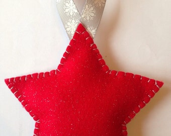 Red star felt christmas decorations
