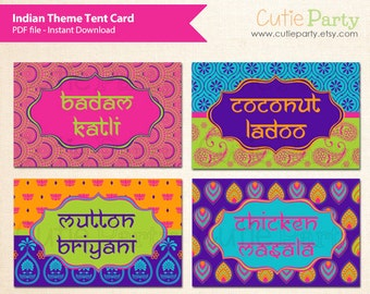 Indian Themed Tent Card, Diwali Tent Card, Deepavali Tent Card, Editable Diwali Label, Deepavali Label, buffet card, food tags, gift tags